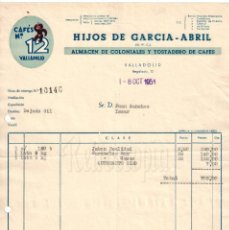 Facturas antiguas: FACTURA CAFÉS / CAFÉ Nº 12 HIJOS DE GARCÍA ABRIL. COLONIALES. VALLADOLID 1951. Lote 226132745