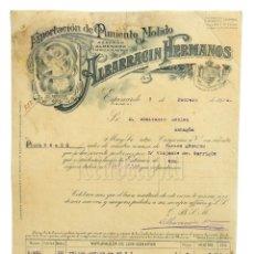 Facturas antiguas: FACTURA PIMENTÓN ALMENDRA AZAFRAN ALBARRACÍN HERMANOS. ESPINARDO MURCIA 1916. Lote 226138975