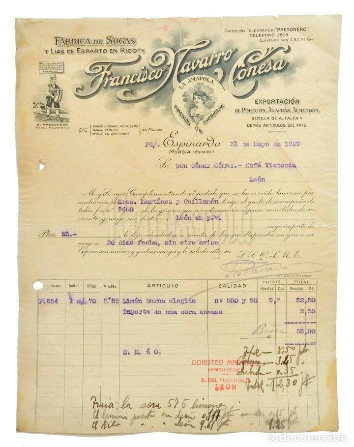 FACTURA FÁBRICA DE SOGAS PIMENTÓN LA AMAPOLA, FRANCISCO NAVARRO CONESA. ESPINARDO MURCIA 1929 (Coleccionismo - Documentos - Facturas Antiguas)