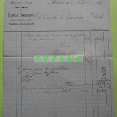 Facturas antiguas: FACTURA EGUIA SOBRINO. MADRID 16 FEBRERO 1871 PARA EL CIRCULO DE ZAMORA. Lote 226507300