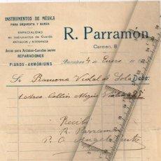 Facturas antiguas: 1915 RECIBO DE PAGO Dª RAMONA VIDAL DE SOLA A R. PARRAMÓN INSTRUMENTOS MUSICALES PARA ORQUESTA.... Lote 227190915