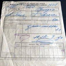 Fatture antiche: ANTIGUA FACTURA:CAMINOS DE HIERRO DEL NORTE. VALLADOLID - BURGOS. AÑO 1930. Lote 227234395
