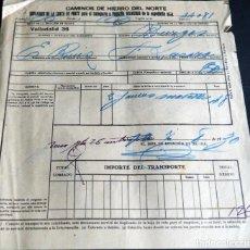 Fatture antiche: ANTIGUA FACTURA:CAMINOS DE HIERRO DEL NORTE. VALLADOLID - BURGOS. AÑO 1930. Lote 227234700