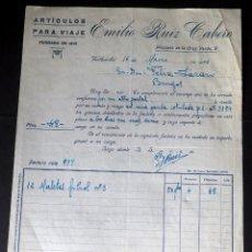 Fatture antiche: ANTIGUA FACTURA. EMILIO RUIZ CABERO. ARTÍCULOS DE VIAJE. VALLADOLID. AÑO 1935. Lote 227605100