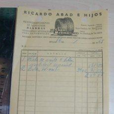 Facturas antiguas: FACTURA RIOCARDO ABAD E HIJOS, RECAMBIOS AUTOMOVIL AÑO 1965. Lote 227621025