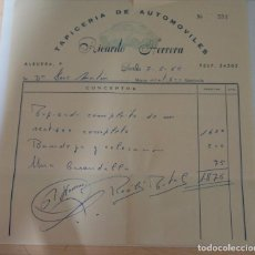 Facturas antiguas: FACTURA TAPICERIA DE UTOMOVILES RICARDO HERRERA SEVILLA SEAT 600 AÑO 1965. Lote 227622215