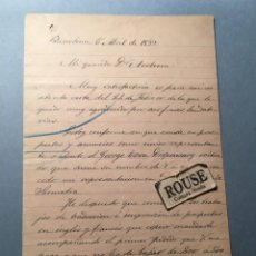 Facturas antiguas: MEDICINA - CARTA MANUSCRITA 1899 DEL DR. TERRADES CONCEDE LA REPRESENTACION EN PENANGÉ ISLA DE SUMAT. Lote 228928940