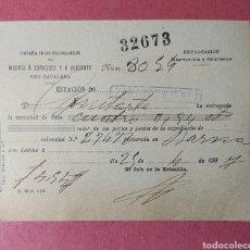 Fatture antiche: ZARAGOZA, ARAGÓN RECIBO ESTACIÓN FERROCARRIL, 1907. Lote 229202680