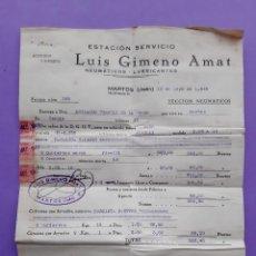 Factures anciennes: FACTURA RECIBO ESTACION SERVICIO LUIS GIMENO AMAT NEUMATICOS PIRELLI MARTOS JAEN AÑO 1949 SELLO ESP.. Lote 230701385