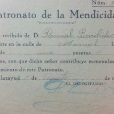 Facturas antiguas: CALATAYUD RECIBO PATRONATO DE LA MENDICIDAD AGOSTO 1936. Lote 231563660