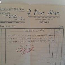 Facturas antiguas: CALATAYUD PÉREZ ALONSO FACTURA REPARACIÓN VENTA DE TELEVISORES ETC. Lote 231720815