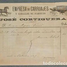 Fatture antiche: FACTURA. JOSÉ CORTIGUERA. EMPRESA CARRUAJES Y CABALLOS DE ALQUILER. JEREZ. ESPAÑA 1897. Lote 232082260