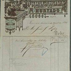 Faturas antigas: FACTURA. M. HURTADO. LITOGRAFÍA- TIPOGRAFÍA. JEREZ. ESPAÑA 1897. Lote 232082520