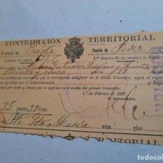Facturas antiguas: FATURA .CONTRIBUCIÓN TERRITORIAL. CÁDIZ.. Lote 232304335