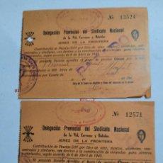 Facturas antiguas: DOS FACTURA ANTIGUAS.JEREZ DE LA TONTERA..CADIZ.. Lote 232305035