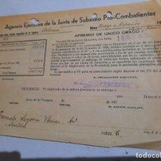 Facturas antiguas: FACTURA. PRO-COMBATIENTES CADIZ... Lote 232307150