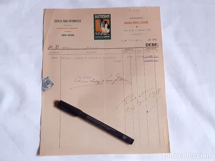 FACTURA DE ESENCIA (GASOLINA) PARA AUTOMÓVILES AUTOSAN. CASTAÑEIRA, ALVARED Y LEVEFEND. 1918. (Coleccionismo - Documentos - Facturas Antiguas)