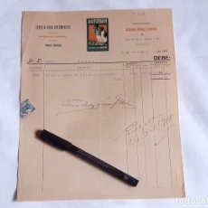 Factures anciennes: FACTURA DE ESENCIA (GASOLINA) PARA AUTOMÓVILES AUTOSAN. CASTAÑEIRA, ALVARED Y LEVEFEND. 1918.. Lote 232348700