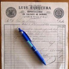 Facturas antiguas: FACTURA- CALZADO DE SEÑORA- LUIS BARQUERA- MADRID 1875. Lote 232468155