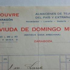 Facturas antiguas: ZARAGOZA FACTURA Y CARTA EL LOUVRE DE ARAGON AÑO 1933. Lote 232885495