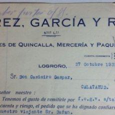 Facturas antiguas: LOGROÑO FACTURA ALMACENES DE QUINCALLERÍA Y MERCERÍA ÁLVAREZ GARCÍA Y RUBIO AÑO 1932. Lote 232895690