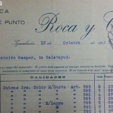 Factures anciennes: IGUALADA FACTURA Y TARJETA POSTAL DE ROCA Y CLOS AÑO 1933. Lote 233049745