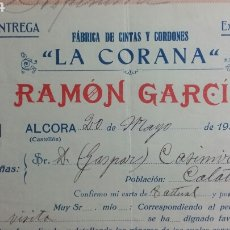 Facturas antiguas: ALCORA FACTURA LA CORONA FABRICA DE CINTAS RAMON GARCÍA 1933. Lote 233049910