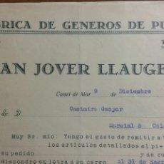 Faturas antigas: CANET DE MAR FACTURA FABRICA DE MEDIAS JUAN JOVER LLAUGER AÑO 1932. Lote 233050060