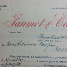 Facturas antiguas: BARCELONA FACTURA FABRICA CAMISAS DE JAUMOT Y CANES. Lote 233050080