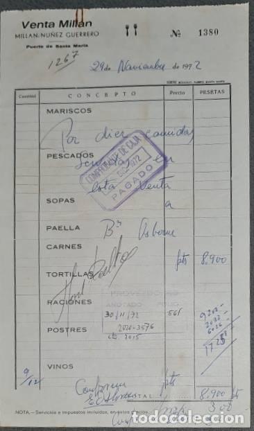 FACTURA. MILLÁN NÚÑEZ GUERRERO. VENTA MILLÁN. PUERTO STA. MARÍA. ESPAÑA 1992 (Coleccionismo - Documentos - Facturas Antiguas)