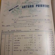 Facturas antiguas: ARTURO PUIGVERT. SAN PEDRO DE TOREROS. BARCELONA 1931. Lote 235176290