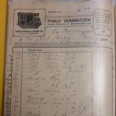 Facturas antiguas: PABLO DUMMATZEN .. BARCELONA 1940. Lote 235176775