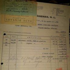 Facturas antiguas: FACTURA FÁBRICA HILADOS ALPARGATA ARTÍCULO GOMA MESEGUER RÓDENAS MURCIA 1953 PELOTARI CÓRDOBA VIÑETA. Lote 235354295