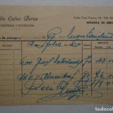 Facturas antiguas: RECIBO FACTURA DE CONFITERIA Y PASTELERIA JULIO CALVO PEREA DE MIRANDA DE EBRO. ANTIGUA. Lote 235694105