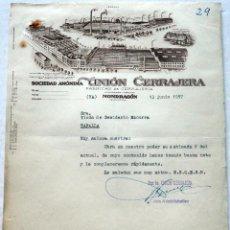 Fatture antiche: ANTIGUA FACTURA: UNIÓN CERRAJERA. MONDRAGON( GUIPUZCOA). AÑO 1957. Lote 235731635