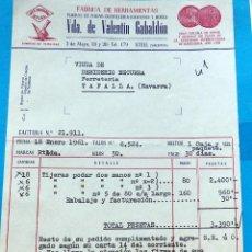 Factures anciennes: ANTIGUA FACTURA: FABRICA DE HERRAMIENTAS. VDA. DE VALENTIN GABALDÓN. UTIEL( VALENCIA). AÑO 1961. Lote 236007340