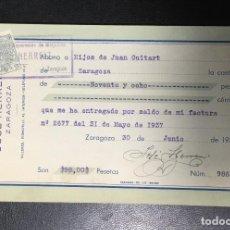 Facturas antiguas: ZARAGOZA , ARAGÓN , FACTURA ANTIGUA , RECIBO DE 1937 , JOSÉ HERREIZ , CONSTRUCCIÓN MAQUONAS .. Lote 236394010