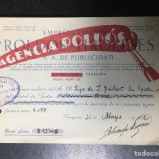 Facturas antiguas: ZARAGOZA , ARAGÓN , FACTURA ANTIGUA , RECIBO DE 1932 , ROLDOS TIROLESES , PUBLICIDAD .. Lote 236394510