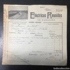 Facturas antiguas: ZARAGOZA , ARAGÓN , FACTURA ANTIGUA , RECIBO DE 1916 , ELÉCTRICAS REUNIDAS , IMAGEN DDE MARRACOS. Lote 236395085