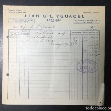 Facturas antiguas: ZARAGOZA , ARAGÓN , FACTURA ANTIGUA , RECIBO 1937 , JUAN GIL YGUACEL , HIERROS.. Lote 236395710