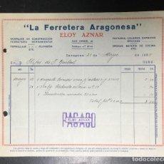 Facturas antiguas: ZARAGOZA , ARAGÓN , FACTURA ANTIGUA , RECIBO 1937 , ELOY AZNAR, FERRETERÍA ARAGONESA .. Lote 236396190