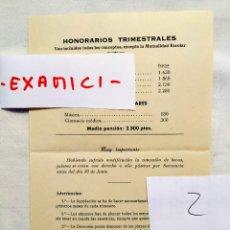 Facturas antiguas: 1959 - LISTADO DE PRECIOS DE HONORARIOS TRIMESTRALES EN EL COLEGIO DEL PILAR DE MADRID. Lote 236396540
