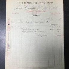 Facturas antiguas: ZARAGOZA , ARAGÓN , FACTURA ANTIGUA , RECIBO DE 1937 , JOSÉ GARCÍA DÍAZ , ANTES ACERLY. Lote 236396655