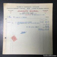 Facturas antiguas: ZARAGOZA , ARAGÓN , FACTURA ANTIGUA , RECIBO 1935 , JOAQUIN GUIRAL , MAQUINARIA ELECTROCA.. Lote 236397190