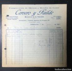 Facturas antiguas: ZARAGOZA , ARAGÓN , FACTURA ANTIGUA , RECIBO 1934 , CERVERO Y FAILDE , HIERROS. Lote 236397760