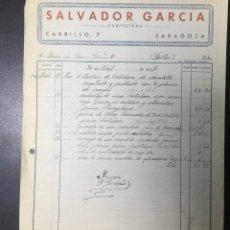 Facturas antiguas: ZARAGOZA , ARAGÓN , FACTURA ANTIGUA , RECIBO 1937 , SALVADOR GARCÍA , CARPINTERO .. Lote 236398855