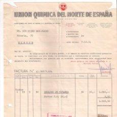 Facturas antiguas: ANTIGUA FACTURA: UNIÓN QUÍMICA DEL NORTE. BILBAO. AÑO 1954. Lote 236430075