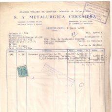 Facturas antiguas: ANTIGUA FACTURA: METALÚRGICA CERRAJERÍA: MONDRAGON. AÑO 1955. Lote 236432455