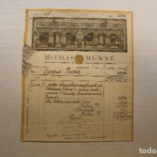 Facturas antiguas: MUEBLES MUNNÉ, BARCELONA, 1927. Lote 236997685