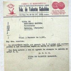 Fatture antiche: ANTIGUA FACTURA: FABRICA DE HERRAMIENTAS. VDA DE VALENTÍN GABALDÓN. UTIEL ( VALENCIA). AÑO 1961. Lote 237936410